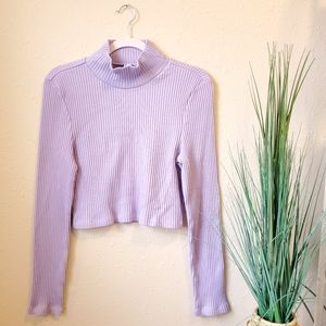 AMERICAN APPAREL Lilac Ribbed Crop Mock Sweater xl